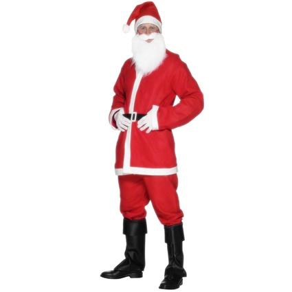 7a28fbe4e Červený pánský kostým Santa Clause obsahuje červené sako, kalhoty, vousy  čepici a pásek. Vhodný pro Štědrý večer nebo dětský vánoční večírek.