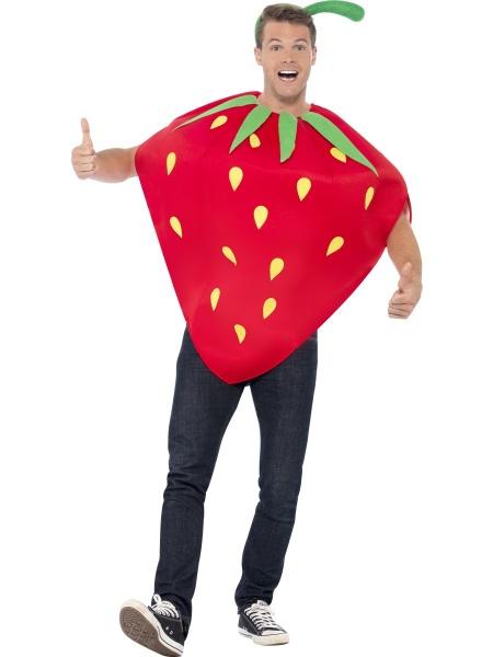 cfbd6cec070 Jahodový kostým jen k nakousnutí. Kostým tvoří velká jahoda s průvleky na  ruce a čelenka. Je vhodný na jakoukoliv párty či karneval.
